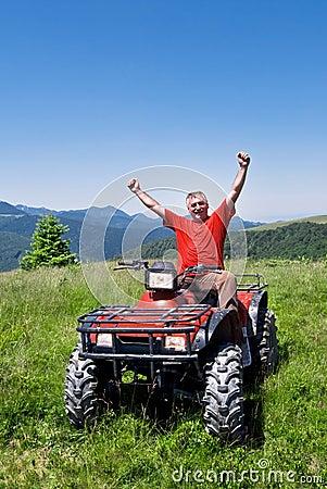 Happy ATV driver - quad