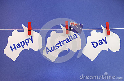 Happy Australia Day message greeting written acros