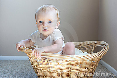 Happy Baby in a Basket