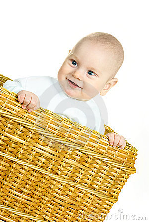 Happy baby in the basket