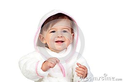 Happy baby with a bathrobe