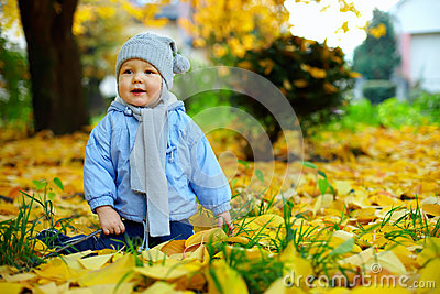 Happy baby boy among fallen leaves in autumn park