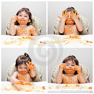 Free Happy Baby Funny Messy Eater Royalty Free Stock Image - 19021466
