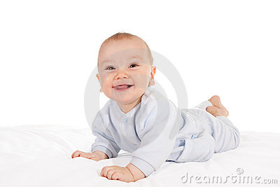 Happy baby lying on tummy
