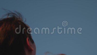Happy baby plays with father laughs and rejoices. happy childhood concept. father throws up his child in blue sky Dad. Plays with little daughter, baby smiles stock footage