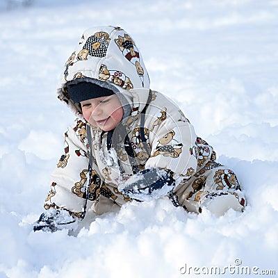 Happy baby in snow