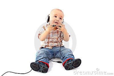 Happy baby support phone operator in headset