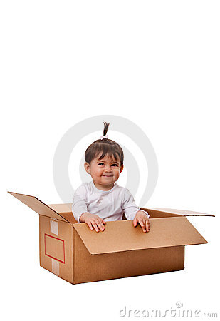 Happy baby in surprise box