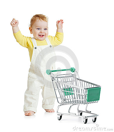 Free Happy Baby Walking With Shopping Cart Stock Image - 32195011