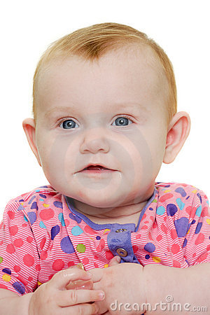 Happy baby on white background