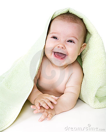 Free Happy Baby With Towel Royalty Free Stock Photo - 6855205