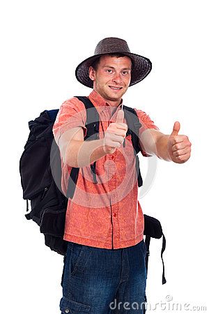 Happy backpacker thumbs up