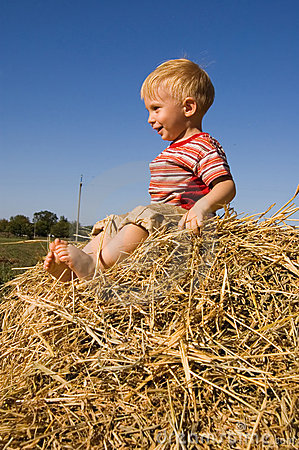 Free Happy Barefooted Baby Boy Sit On A Hayrick Royalty Free Stock Photo - 3901835
