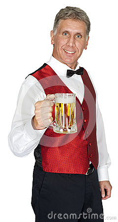 Happy Bartender Serving Beer Isolated