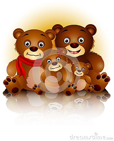 Happy bear family in harmony