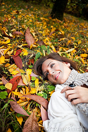 Happy beautiful autumn woman