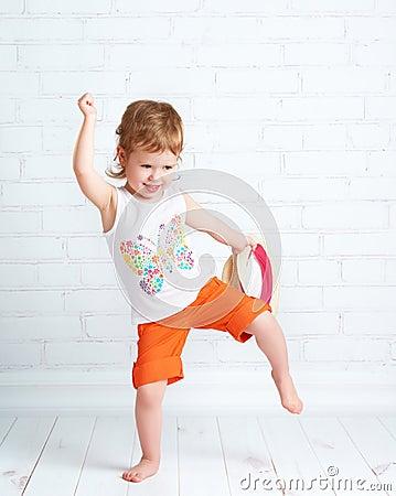 Free Happy Beautiful Baby Girl Dancer Dancing  Hip Hop Dance Royalty Free Stock Photo - 52630725