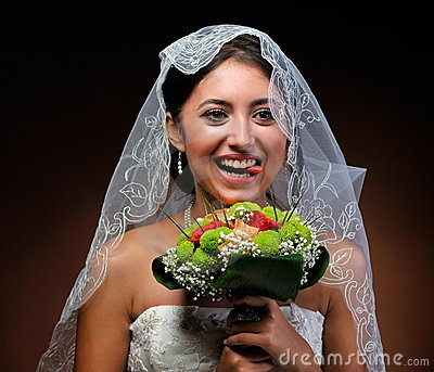 Happy beautiful bride