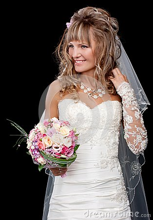 Happy beautiful bride on black background with bouquet of weddin