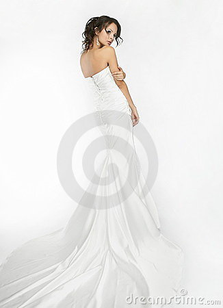Happy beautiful bride white background up cloth