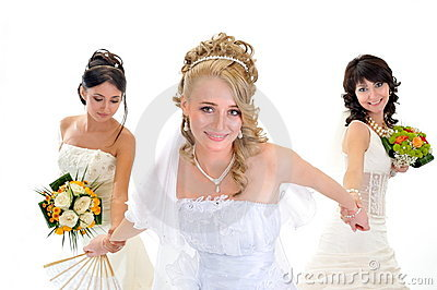 Happy beautiful brides