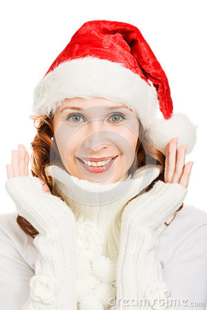 Happy Beautiful Christmas woman in santa hat