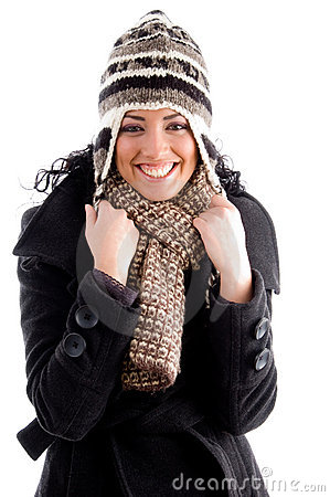 Happy beautiful female wearing winter clothes