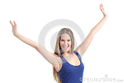 Happy beautiful girl with her arms raised