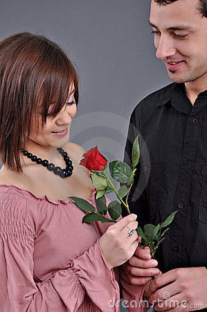 Happy beautiful teenage couple