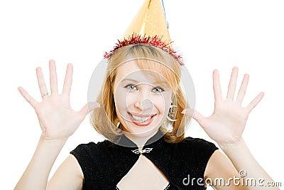 Happy beautiful woman in a festive hat