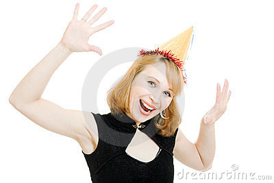 Happy beautiful woman in a festive hat