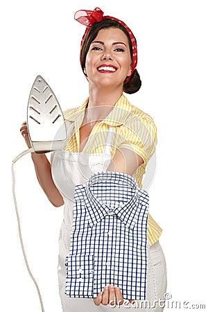 Free Happy Beautiful Woman Housewife Ironing A Shirt Royalty Free Stock Photo - 32190785