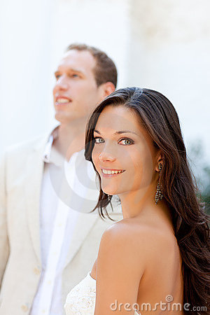 Happy beautiful woman portrait with man