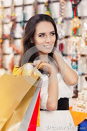 Free Happy Beautiful Woman Shopping Stock Photo - 49769220