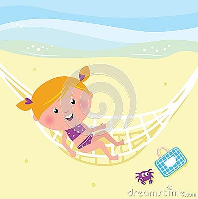 Happy beauty girl relaxing in the hammock