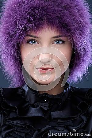 Happy beauty in purple wig