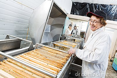 Happy Beekeeper Working On Honey Extraction