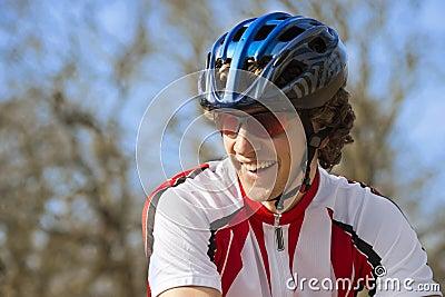 Happy Bicyclist In Sportswear