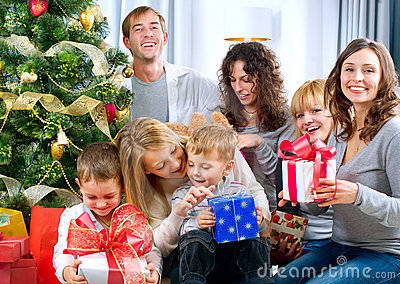 Happy Big family with Christmas presents at hom