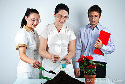 Happy Biologists People  In Laboratory Royalty Free Stock Photo - Image: 15387055