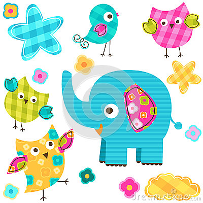 Happy birds and elephant