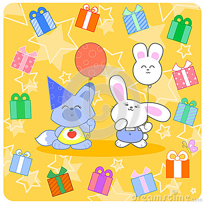 Happy birtday! Cute animals and gifts