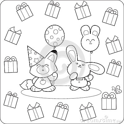 Happy birtday! Cute coloring animals