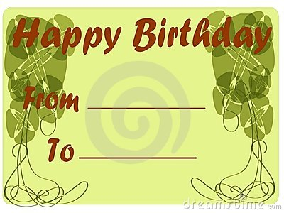 Classic Happy birthday greeting card in green tone