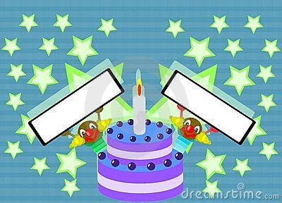 Happy birthday cake with clowns and stars