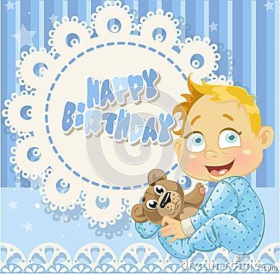 Happy Birthday for baby boy blue openwork card