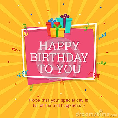 Happy Birthday Background Template with Gift Box Illustration. Vector Illustration