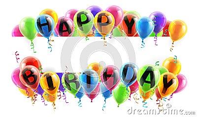Happy Birthday Balloons Banner Vector Illustration