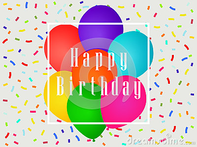Happy birthday balloons and confetti. Greeting card template. Celebratory banner. Vector Vector Illustration