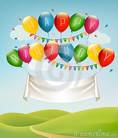 Happy birthday banner with balloons and landscape. Vector Illustration